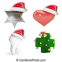 Christmas santa hat set on a white background 3D...