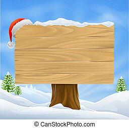 Christmas Santa hat sign background - Illustration of wooden...
