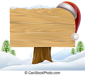 Christmas Santa Hat Snow Sign - A Christmas wooden sign with...