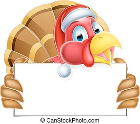 Christmas Santa Hat Turkey Holding a Sign
