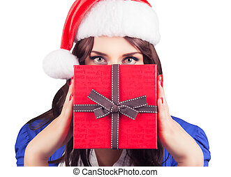 Christmas Santa hat woman
