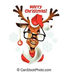 Christmas santa hipster deer. Vector illustration