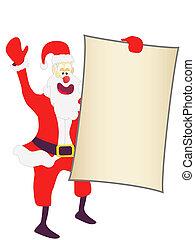 Christmas Santa holding a blank sign