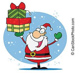 Christmas Santa Holding Up A Gift
