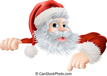 Christmas Santa pointing down at si - Cartoon illustration...
