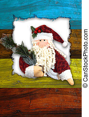 christmas santa postcard - santa doll in a wooden frame ...