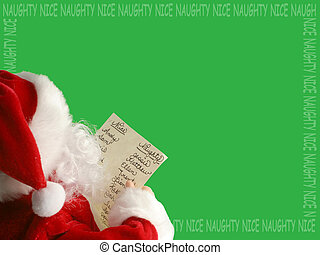 christmas santa reads his christmas santa list (border)