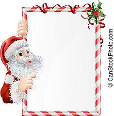 Christmas Santa Sign - Cartoon Santa pointing at at...