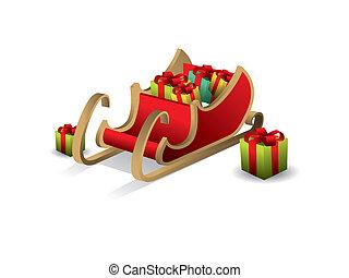 Christmas Santa sledge vector