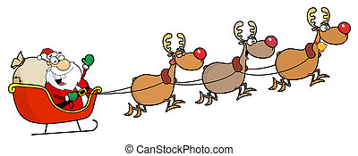 Christmas Santa Sleigh And Reindeer - Team Of Reindeer And...