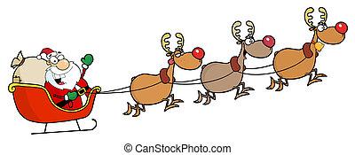 Christmas Santa Sleigh And Reindeer - Team Of Reindeer And...