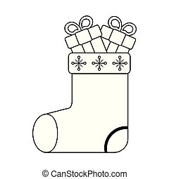 christmas santa sock with gift boxes black and white