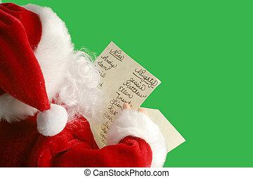 christmas santa - Christmas santa reads his christmas list