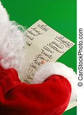 christmas santa reads his christmas santa list