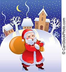 Christmas Santa with bag of gifts