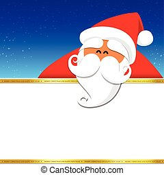 Christmas santa with blank space on the night background