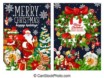 Christmas Santa with gifts bag, vector greetings