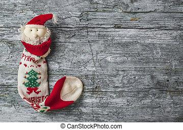 Christmas Santa wooden background