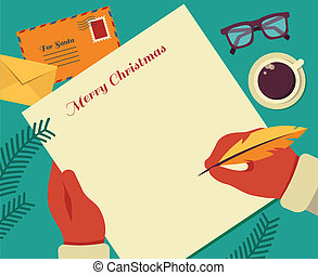Christmas Santa's desktop flat vector design with elements -...