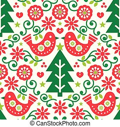 Christmas Scandinavian folk art seamless vector pattern with birds and flowers in red and green, festive Nordic fabric, textile design