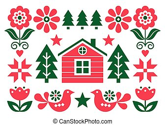 Christmas Scandinavian folk art vector greeting card design in red and green in 5x7 format with Christmas trees, birds, flowers and Finnish house