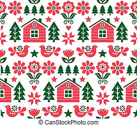Christmas Scandinavian folk art vector seamless pattern in red and green with Christmas trees, birds, flowers and Finnish house