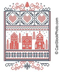 Christmas Scandinavian, Nordic style winter stitching, pattern including snowflake, heart, winter wonderland village, gingerbread house, church, Christmas tree, snow in red, blue in rectangle frame