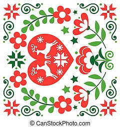 Christmas Scandinavian reindeer vector red greeting card design, folk art style festive background in red and green