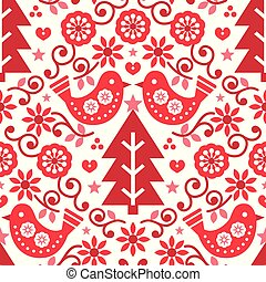 Christmas Scandinavian seamless vector pattern with birds and flowers in red, folk art Nordic fabric, textile design