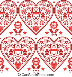 Christmas Scandinavian vector heart seamless pattern - folk art style textile design with reindeer, snowflakes Xmas trees and flowers