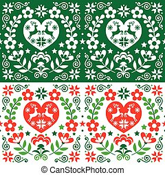 Christmas Scandinavian vector seamless pattern in green and red - folk art style with reindeer, Xmas trees and flowers