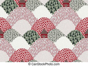 Christmas Scape seamless vector pattern.