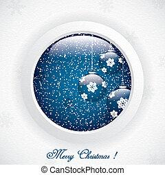 Christmas Scene - Glass globe with Christmas Scene.Vector