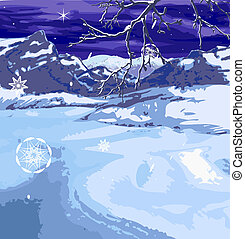 christmas scene - A snowy winter scene, brach and snow...