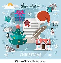 Christmas scene flat style