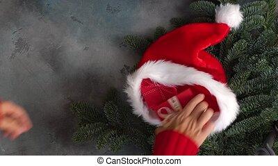 Christmas scene gift giving