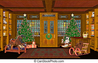 Christmas Scene - Illustration of a christmas scene