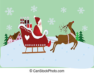 Christmas scene - christmas scene with santa claus, reindeer...