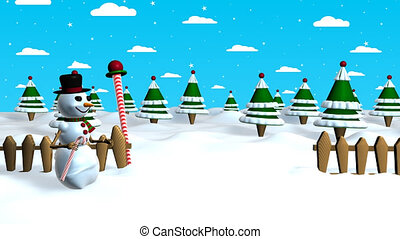 Christmas scene of a snowman pulling a Christmas tree out of his hat when he touches it with his candy cane in the middle of a forest with a sky background with clouds and stars. 3D animation