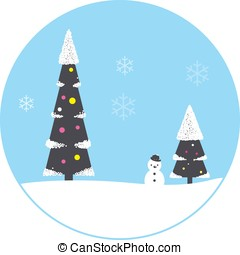 Christmas scene, tree, house,snowman