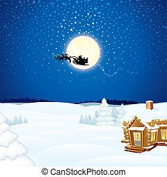 Christmas Scene with Flying Santa Sleigh and his Reindeer