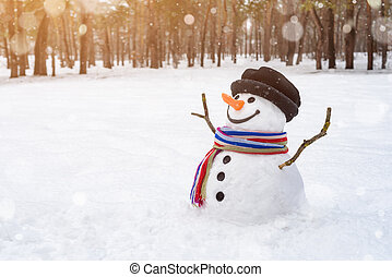 Christmas scene with a cheerful snowman in the park