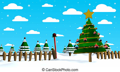 Christmas scene with an abstract Christmas tree decorated with colored spheres with a forest of trees in the background, the sky is blue with a pattern of clouds and white stars. 3D Render