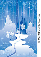 Christmas Scene with Castle - Christmas scene with northern...