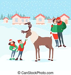 Christmas Scene with Kids. Happy Family on Winter Holidays. Children Feeding Deer. New Year Celebration. Vector illustration