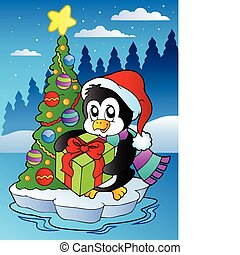Christmas scene with penguin