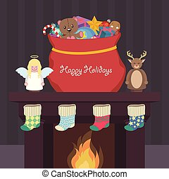 Christmas scene with presents, nutcrackers and stockings