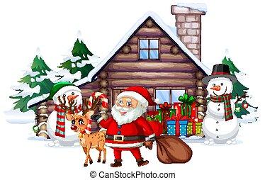 Christmas scene with Santa and snowman