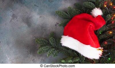 Christmas scene with Snata Hat - Christmas evergreen tree...