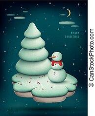 Christmas scene with snowman